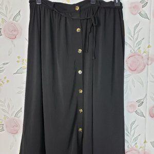 New Black Button Midi Skirt Plus Size Office